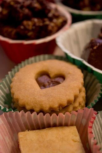 Chocolate and cinnamon linzer cookies